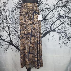 LuLaRoe Maxi Skirt Blue and Brown Print 2XL